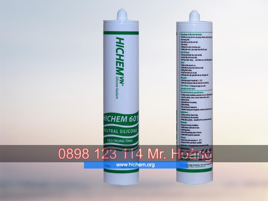 Keo dán silicone trung tính Hichem 601 màu trong 2