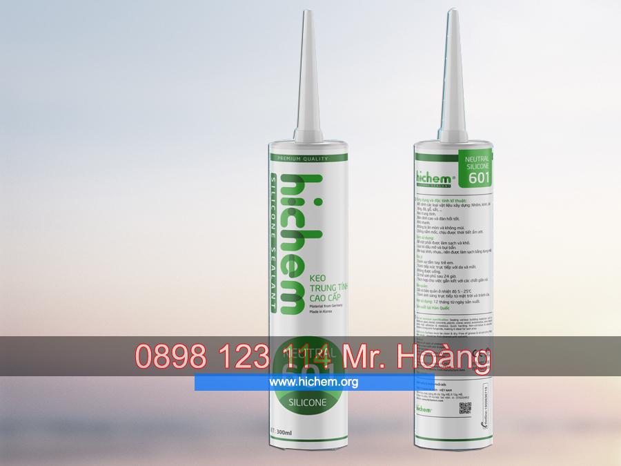 Keo dán silicone trung tính Hichem 601 màu trong 3